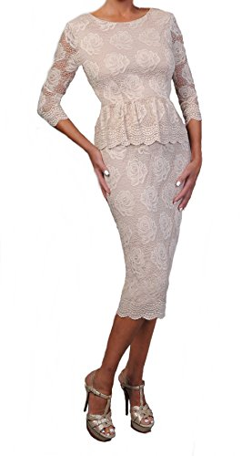 Love My Seamless Women's Ladies Mother Of The Bride 3/4 Sleeve Peplum Style Cocktail Lace Dress