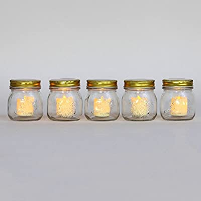 Set of 5 Ivory Flameless Battery Operated Votive Candles with Warm White LEDs in Glass Mason Jar Holders- Batteries Included