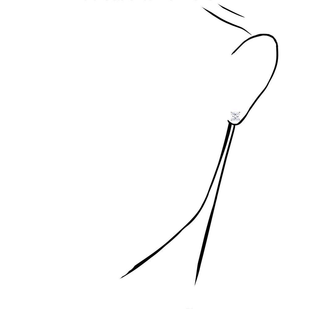 2Ct Created Diamond 14K White Gold Princess Cut Screw Back Stud Earrings 6mm