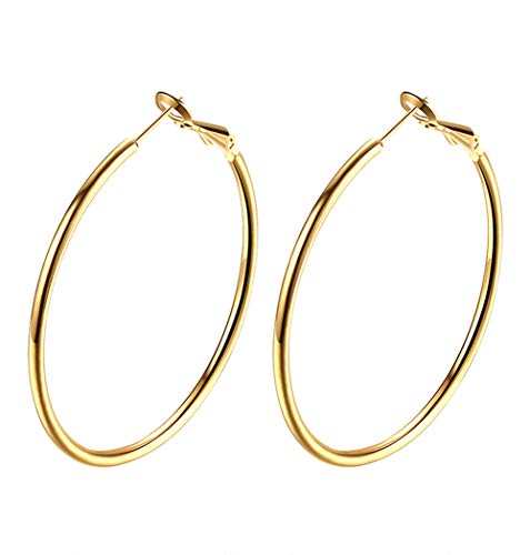 18K Gold Plated Polished Round Hoop Earrings For Women Teen Girls Diameter 60mm