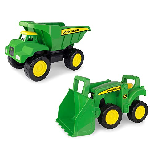Scoop Dump Truck and Tractor with Loader Toy, Green/Yellow ()