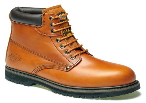 MENS DICKIES ANTRIM SAFETY LEATHERWORK SHOES HIKER OUTDOOR ANKLE BOOTS STEEL TOE CAP (UK 11, CHESTNUT)