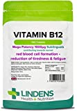 Lindens Vitamin B12 1000mcg Sublingual Tablets | 100 Pack | Mega Potency 40000% NRV dose contributing towards red blood cell formation, reduction of tiredness & fatigue