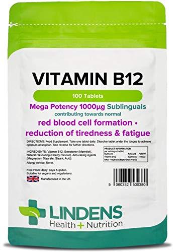 Lindens Vitamin B12 1000mcg Sublingual Tablets | 100 Pack | Mega Potency...