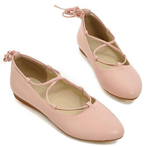 COOLCEPT Mujer Moda Tacon De Vaquero Encaje Planos Vestir Bombas Zapatos Rosado