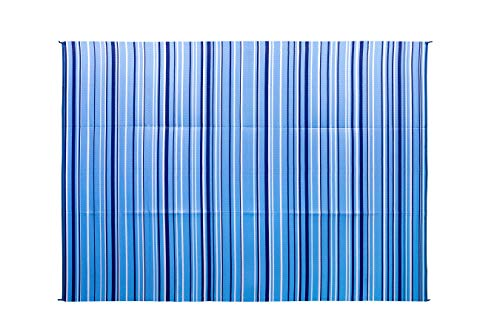 : Camco Blue and White Striped Large Reversible Outdoor Patio Mat-Mold and Mildew Resistant, Easy to Clean, Perfect for Picnics, Cookouts, Camping, and The Beach (9' x 12', Design) (42865)