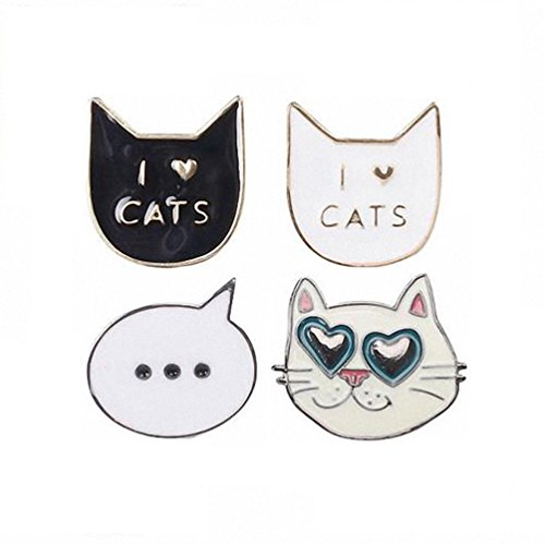 Kalapure Teens Girls Lovely Cat Series Enamel Brooches Pins Set for Clothes Bags Backpacks