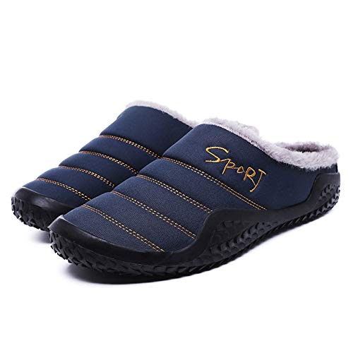 [해외]Men House Slippers Winter Slip on Fur Lined Waterproof Indoor Outdoor Warm Shoes (US:9.5 Blue) / Men House Slippers Winter Slip on Fur Lined Waterproof Indoor Outdoor Warm Shoes (US:9.5, Blue)