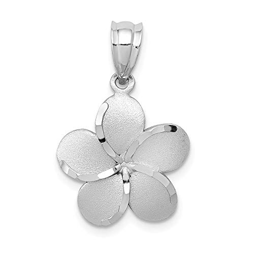 Jewelry Pendants & Charms Themed Charms 14k Yellow Gold Dipped in White Rhodium Polished Satin D/C Plumeria Pendant