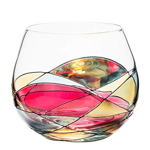 ANTONI BARCELONA Stemless Wine Glasses Set of 1 (21.5 Oz) – Handblown & Handmade, Painted Red Wine Glass, Gifts for Women, Birthdays, Anniversaries, and Weddings – 1 Unit