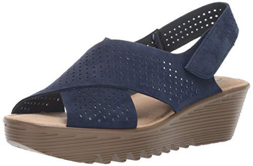 Skechers Women's Petite Parallel-PLOT-Square Perf Peep Toe Slingback Wedge Sandal, Navy, 7.5 W US
