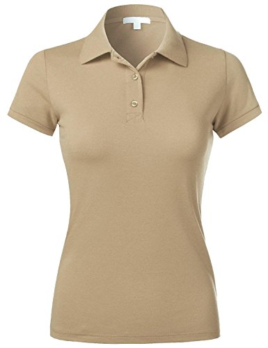 Hat and Beyond Women's Polo Shirts Slim Fit Pique Casual Solid Short Sleeve Tee (Small, 3ec01_Khaki)]()