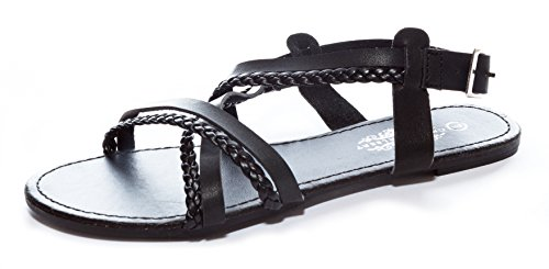 Charles Albert Womens Strappy Criss-Cross Flat Sandal With Slingback Buckle Black WuRI3bY6o6