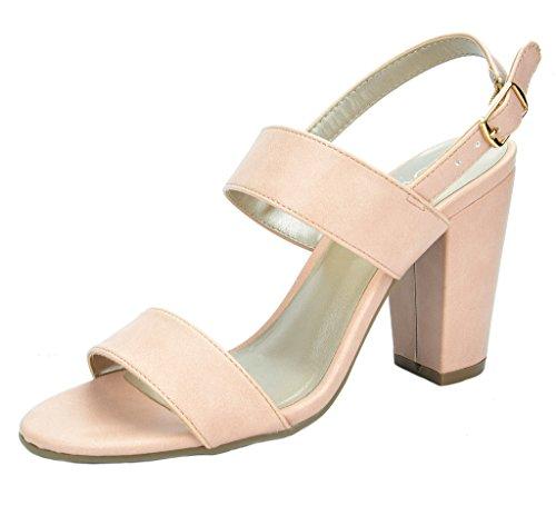 TOETOS Women's STELLA-01 Pink Dust Open Toe Mid Chunky Heel Pump Sandals - 7.5 M US