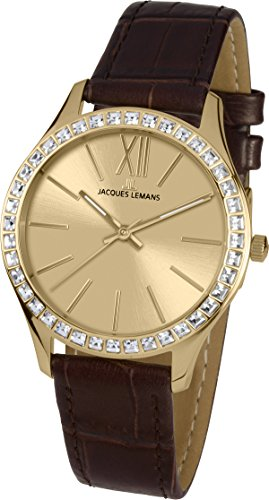 Jacques Lemans Rome 1-1841C 37mm Ion Plated Stainless Steel Case Calfskin Mineral Women's Watch
