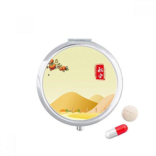 Autumnal Equinox Twenty Four Solar Term Travel Pocket Pill case Medicine Drug Storage Box Dispenser Mirror Gift by DIYthinker