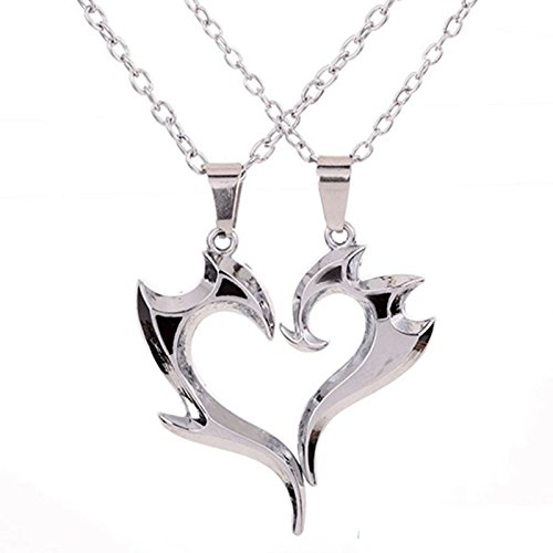 phitak shop Wonderful His and Hers Stainless Steel Love You Heart Couple Pendant Necklace by phitakshop (Image #4)