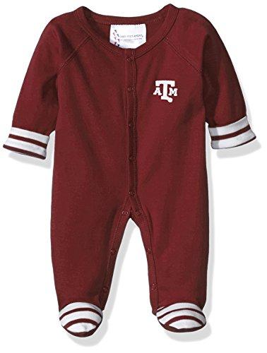 Two Feet Ahead NCAA Texas A&M Aggies Infant Stripe Footed Creeper, New Born, Maroon
