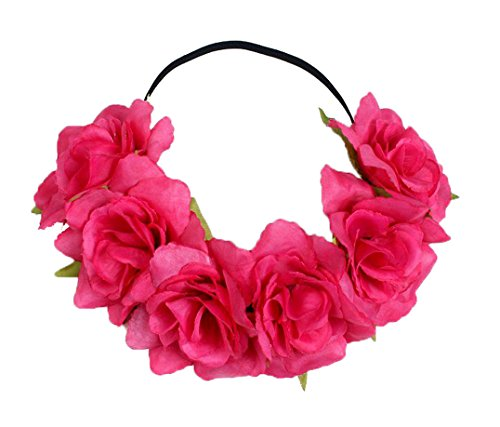 Floral Fall Rose Holiday Christmas Crown Festival Headbands Hippie Flower Headpiece F-53 (Fuchsia)