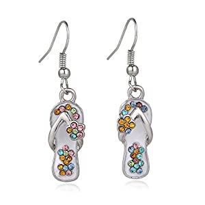Liavy's Multi-Color Flip-Flop Sandals Fashionable Earrings - Fish Hook - Sparkling Crystal - Unique Gift and Souvenir by Liavy's