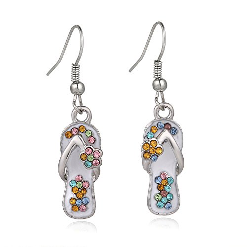 Liavy's Multi-Color Flip-Flop Sandals Fashionable Earrings - Fish Hook - Sparkling Crystal - Unique Gift and Souvenir ()