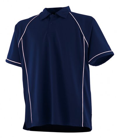 FINDEN & Hales Piped Performance Polo Navy / Weiß M