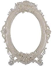 Nerien Decorative Vintage Retro Metal Tabletop Mirror Rose Embossed Makeup Vanity Mirror with Stand