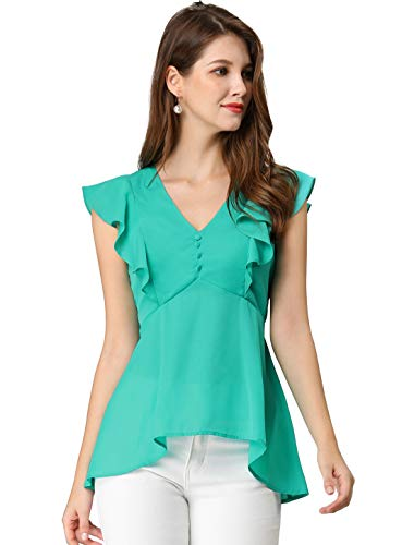 Allegra K Women's V Neck Sleeveless Blouse Ruffle Peplum Office Chiffon Top Green L (US 14) ()
