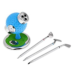 Prettyia Golf Souvenir with Clock, Golf Pen Holder with 3 Golf Pens, Mini Office Home Desktop Decoration Novelty Golf Model Gift for Father Dad - Blue, as described