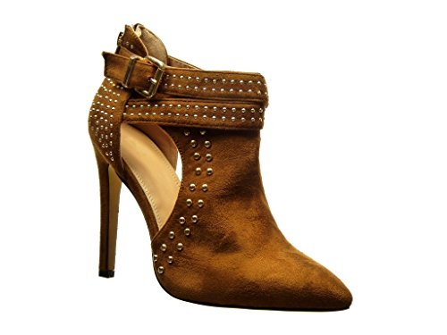 Open Booty Studded Stiletto Heel Stiletto Camel Shoes Fashion Ankle Metallic 5 Buckle High 11 cm Boots Sexy Women's Angkorly wSXB8zS