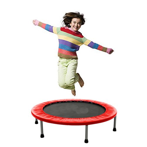Tomasar Mini Trampoline Rebounder, Max Load 220lbs Rebounder Trampoline Exercise Trampoline with Padded Frame Cover Safe & Secure For Indoor/Garden/Workout Cardio (Red, 38inch - foldable twice)