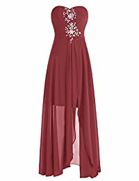BeryLove Strapless Beaded High Low Prom Dress Bridesmaid Gown Chiffon Lace Up Back