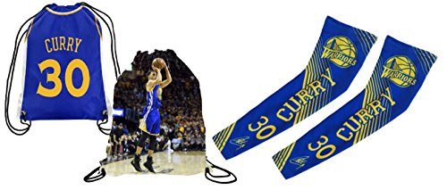 Curry Arm Sleeves Pack of 2 Blue Compression Shooter Arm Sleeves with Curry Jersey Picture Backpack ✓ Perfect Curry Basketball Fan Gift Set (Youth Size (6-13 Years), Curry) (State Youth Backpack)