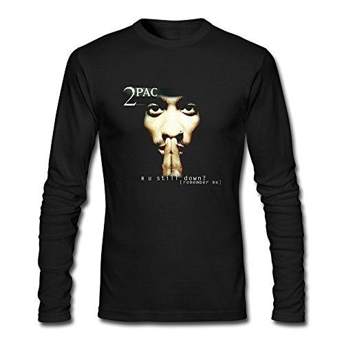 JeFF Men's 2Pac Tupac O-neck Long Sleeve Tee Shirt Black XX-Large (US Size)]()