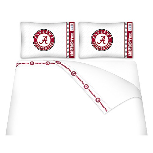 NCAA Alabama Crimson Tide Micro Fiber Sheet Set (Full) (Fitted Logo Roll)