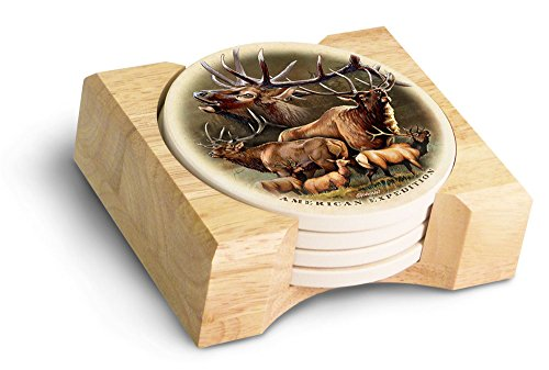 (American Expedition Elk Collage Stone Coaster Set, Multicolor)