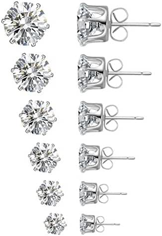 18K White Gold Plated Square Shape Stud Earrings Cz Stud Earrings Stud Earrings for Teens&Women