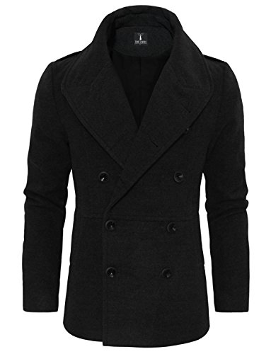 Tom's Ware Men's Stylish Large Lapel Double Breasted Pea Coat TWCC16-BLACK-US S