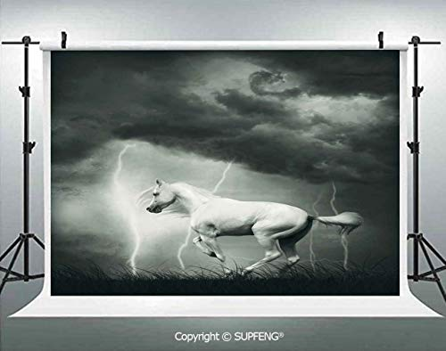 Photography Backdrops Horse Running Under Thunderstorm Clouds with Lightning Dreamy Dramatic Print 3D Backdrops for Photography Backdrop Photo Background Studio Prop]()