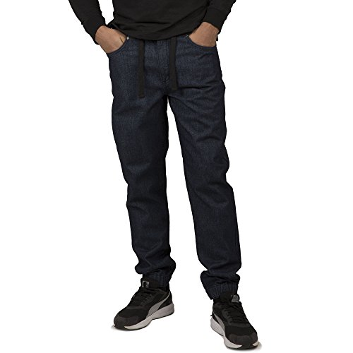 Denim Label Jeans (Vibes Gold Label Men's Indigo Denim Rinse Washed Jogger Jeans Drawstring Rib Waistband)