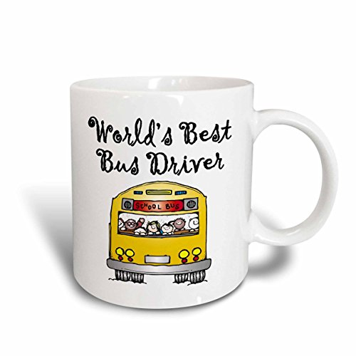Worlds Bus Driver Best (3dRose 193351_5 Worlds Best Bus Driver Two Tone Mug, 11 oz, Red)