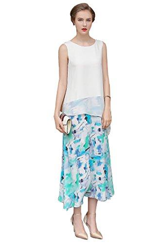Scoop Neck Silk Skirt - 9