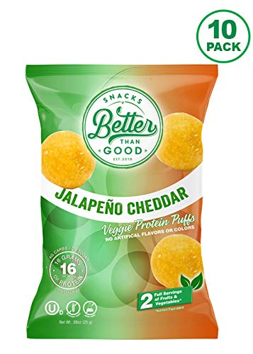 Low Carb High Protein Puffs Keto Snack (Jalapeno & Cheddar 10-Pack) 2 Serving of Fruits & Veggies, 16g Protein, Low Sugar, Low Calories, Keto Friendly, Diabetic Healthy Snack