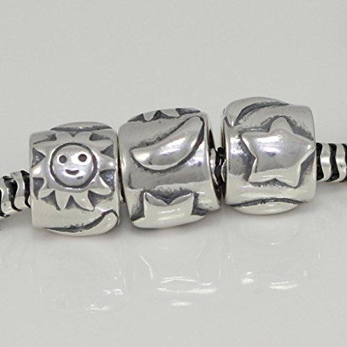 Celestial Crescent Moon Stars & Sun Eternity Sterling Silver Charm Bead Fits Pandora Biagi Troll Chamilla All Other Charm Bracelets EC115