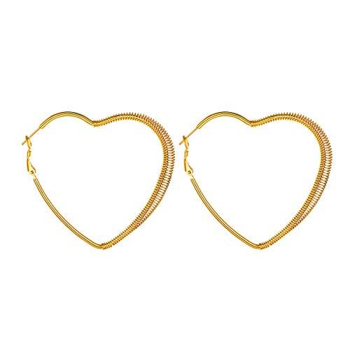 - FOCALOOK 60mm Heart Earrings 18K Gold Plated Stainless Steel Large Geometric Dangle Fashion Hoops Earrings for Women