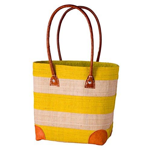 Madaraff Handmade Raffia Shopping Bag Striped Yellow Small