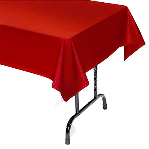 Christmas Cover Table Plastic (12-Pack Plastic Tablecloth - 54 In. X 104 In. Rectangle Table Covers (Red, 54 In. X 104 In. Rectangle))