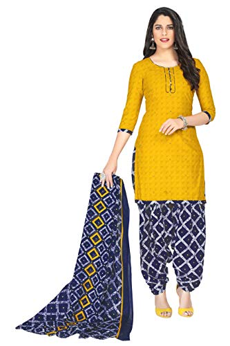 Miraan Women's Cotton Unstitched Dress Material (SAN1254, Yellow, Free Size)