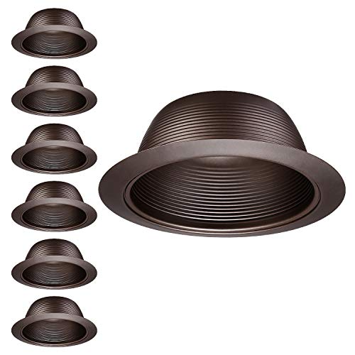 """TORCHSTAR 6 Pack 6-Inch Recessed Can Light Trim, Oil Rubbed Bronze Metal Step Baffle Trim, for PAR30, PAR38, BR30, BR40 Light Bulb, for 6"""" Recessed Light Can, Fit Halo/Juno Remodel Recessed Housing"""