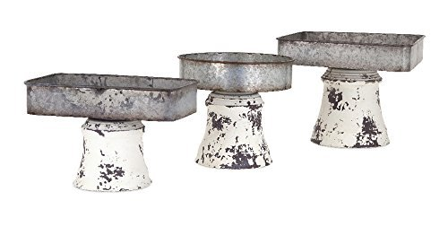 IMAX 47609-3 Peterson Metal Pedestal Trays (Set of 3), Black and White
